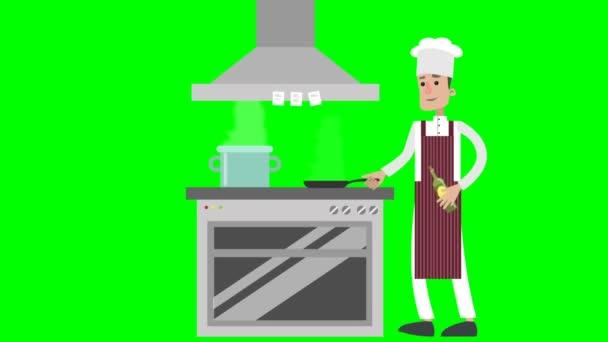 Kreslený kuchař, hranolky zelenina.