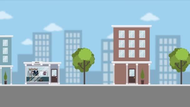 Wohnung Cartoon Stadt Tag Schleife animierten Hintergrund.