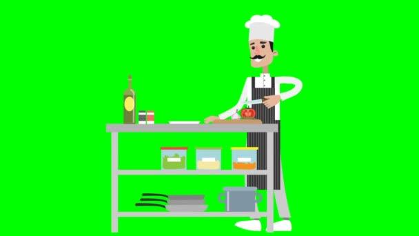 Kreslený šéfkuchař připravující burger