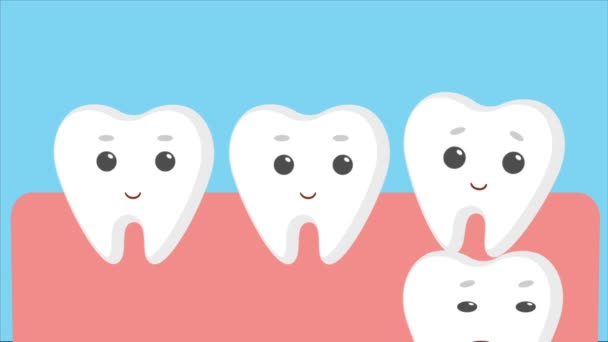 Cartoon gums with white baby teeth.