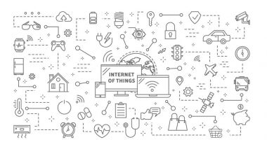 Industrial internet of things icons set linear illustrations. clip art vector