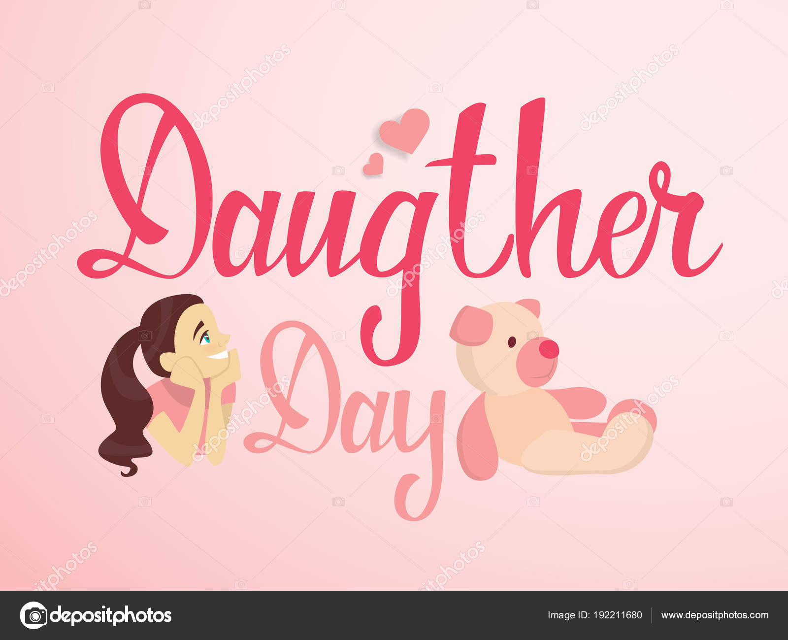 Happy daughters day stock vector inspiringctorail happy daughters day greetings cards set in pink vector by inspiringctorail m4hsunfo