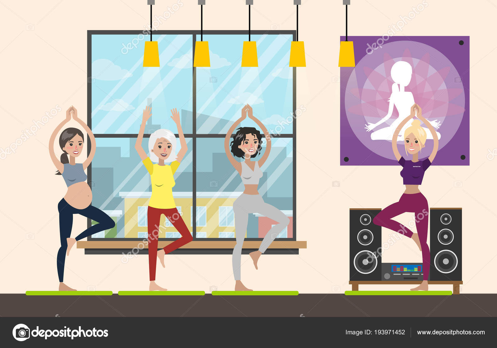 Fitness people doing exercise inside the gym vector illustration