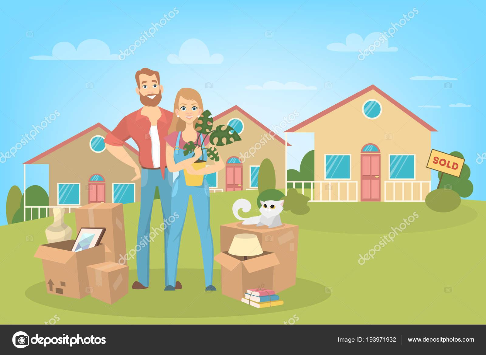 Een Nieuw Huis : Mensen verhuizen naar een nieuw huis u2014 stockvector © inspiring