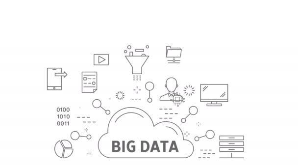Velké objemy dat koncept. na bílém pozadí