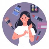 Frau mit kosmetischer Allergie. Rote und juckende Haut. Allergische Reaktion