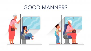 Good manners concept. Retired woman standing in the bus