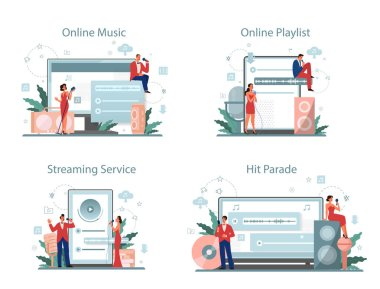 Music streaming service and platform set. Streaming music online