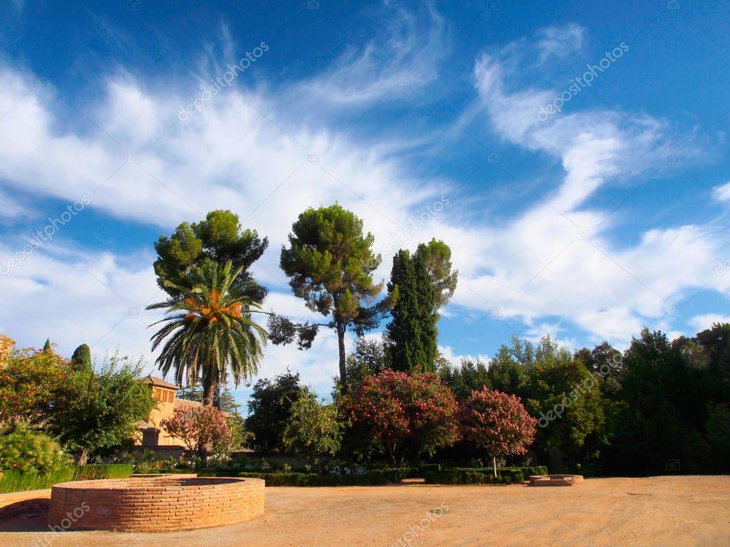 Part garden Generalife in Alhambra, Granada