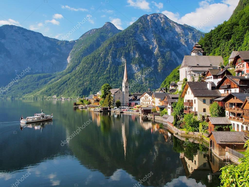 Vue Panoramique Classique Clbre Sur La Carte Postale Beau Lac Village De Montagne Dans Les Alpes Autrichiennes Hallstatt