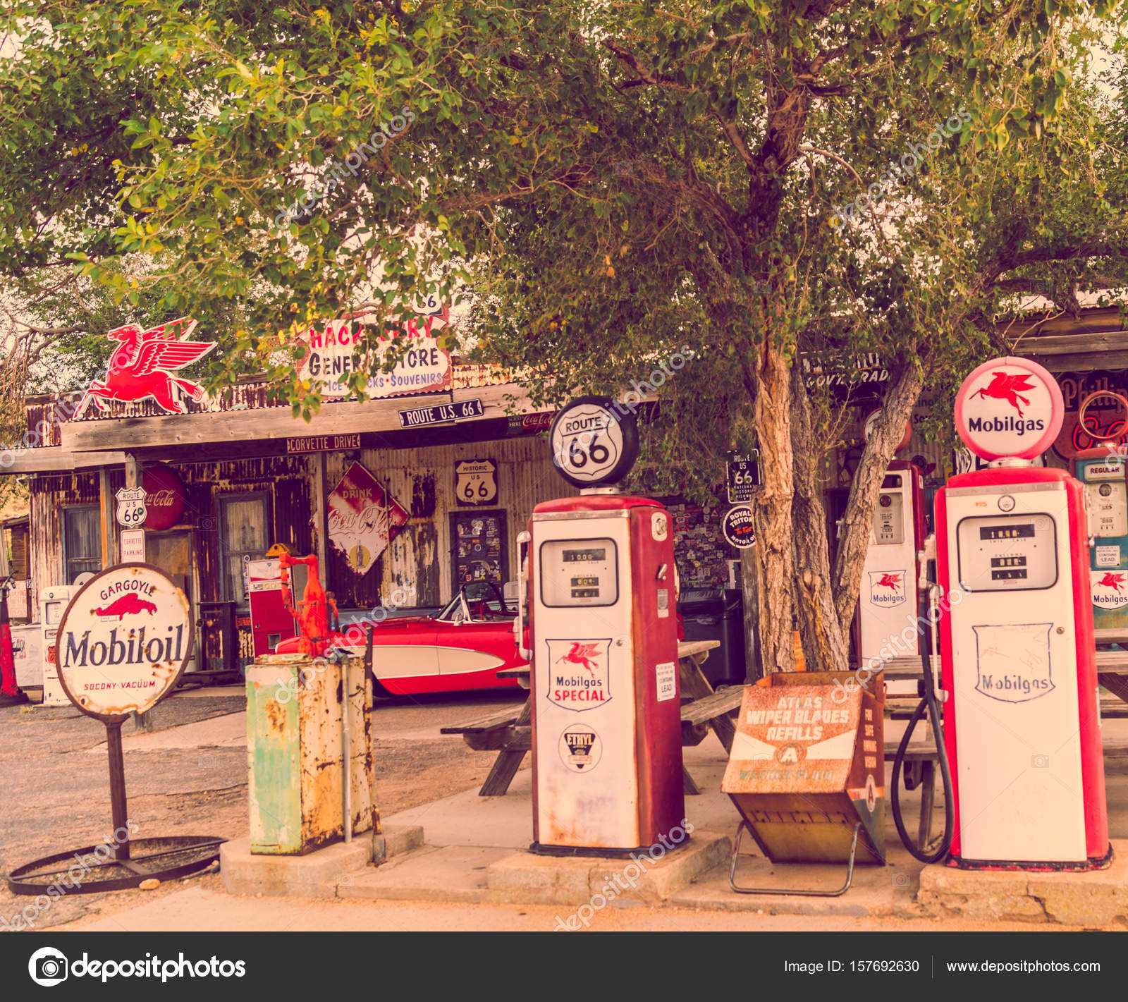 views of the route 66 decorations in the little village in arizona america spirit concept. Black Bedroom Furniture Sets. Home Design Ideas