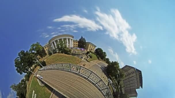 Little Tiny Planet 360 Degree Independence Square People Tourists Are Walking by Bridge Over the Place Kiev Sights in Sunny Day Cityscape Tour to Kiev