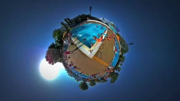 Little Tiny Planet 360 Degree Kids in Aqua Park in Youth Day Opole Sandy Beach Sunny Day Pool With Turquoise Water Families Having Fun Tourism in Poland