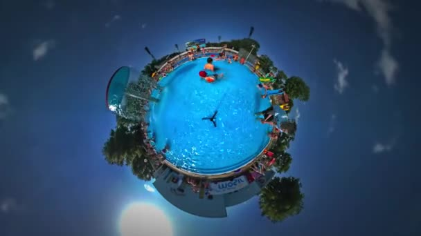 Little Tiny Planet 360 Degree Kids in Aqua Park Looking Into Camera and Smiling Opole Youth Day Sunny Day Turquoise Water Family Tourism in Poland Vacations