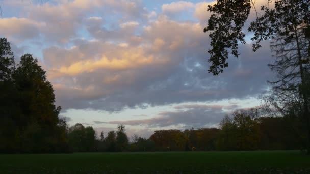 Večerní krajina siluety na soumrak západu slunce Lits mraky Green Lawn stromy Park na podzim na podzim žluté a modré pastelové barvy oblohy mraky plovoucí
