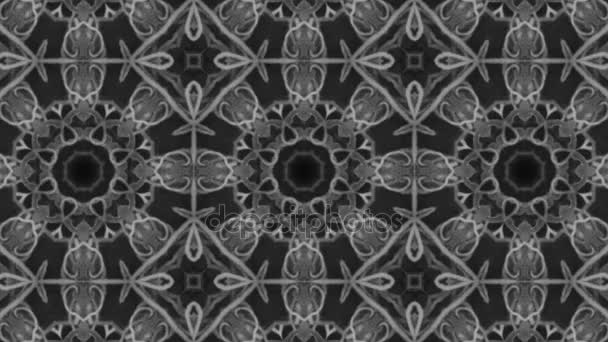 schnelle Umwandlung der Sterne in komplexe Polygone enorme geometrische Muster auf schwarzem Hintergrund, computergenerierte Animation