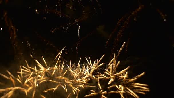 Grand ohňostroj je šumivé tvoří vzory pyrotechniky Show Bright záblesky na obloze oslavě v Grand měřítku romantický večer zpomalené