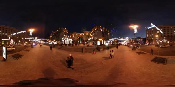360 vr Video New Year Celebration in Kiev Lively Bright Night Cityscape Holiday Illumination Vintage City Street Cobblestone Tourists Looking at the Sights