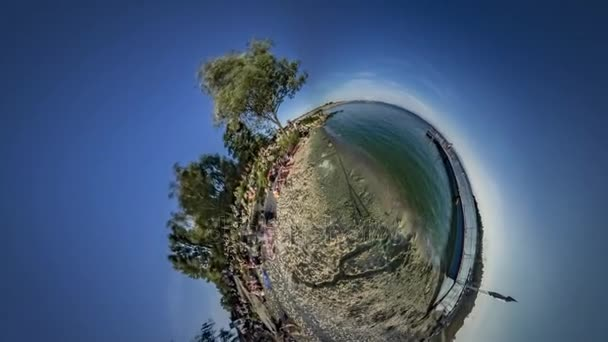Little Tiny Planet 360 Degree Tourists by Sea People Spend Holidays at the Nature Walking by Pier Lookignat Water Sunny Day Tourism City Planet Nysa