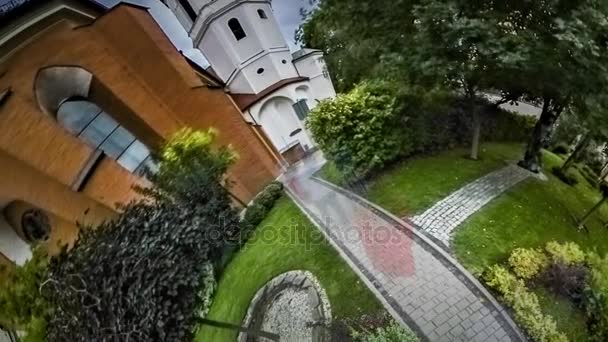 Little Tiny Planet 360 Degree Architectural Heritage of Europe Park Around Old University Bell-Tower Bright Green Fresh Nature Alleys History of Poland