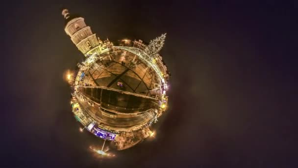 Mini Planet 360 Degree Christmas Night on Square Little Planet Sophia Cathedral Bell Tower in Kiev Dark Space Around Vintage Buildings People on Holiday