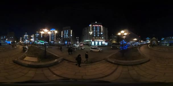360 vr Video Tourists on Night Independence Square Old Buildings Decorated With Blue Lights Kyiv Sights in Christmas Amusement Recreation in Downtown