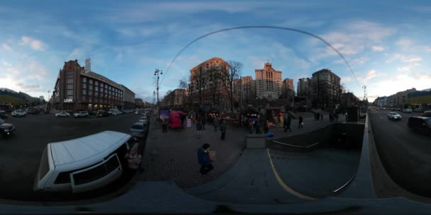 360 vr Video New Year in Kiev no Snow Cityscape People Are in Hurry Cars Are Driven City Transportation Traffic Old Buildings Holidays Tourism in Ukraine