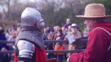 Judge Explains to a Knight a Rules of Fight Knights Tournament in Opole Historical Reenactment of a Camp of Medieval Warriors Military Forces of the Past
