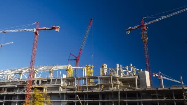Cranes working on stadium reconstruction