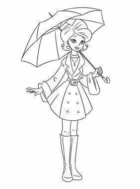 Girl autumn umbrella coloring pages cartoon