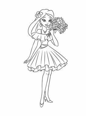 Girl bouquet flowers coloring pages cartoon