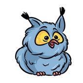 Pták sova kreslený obrázek
