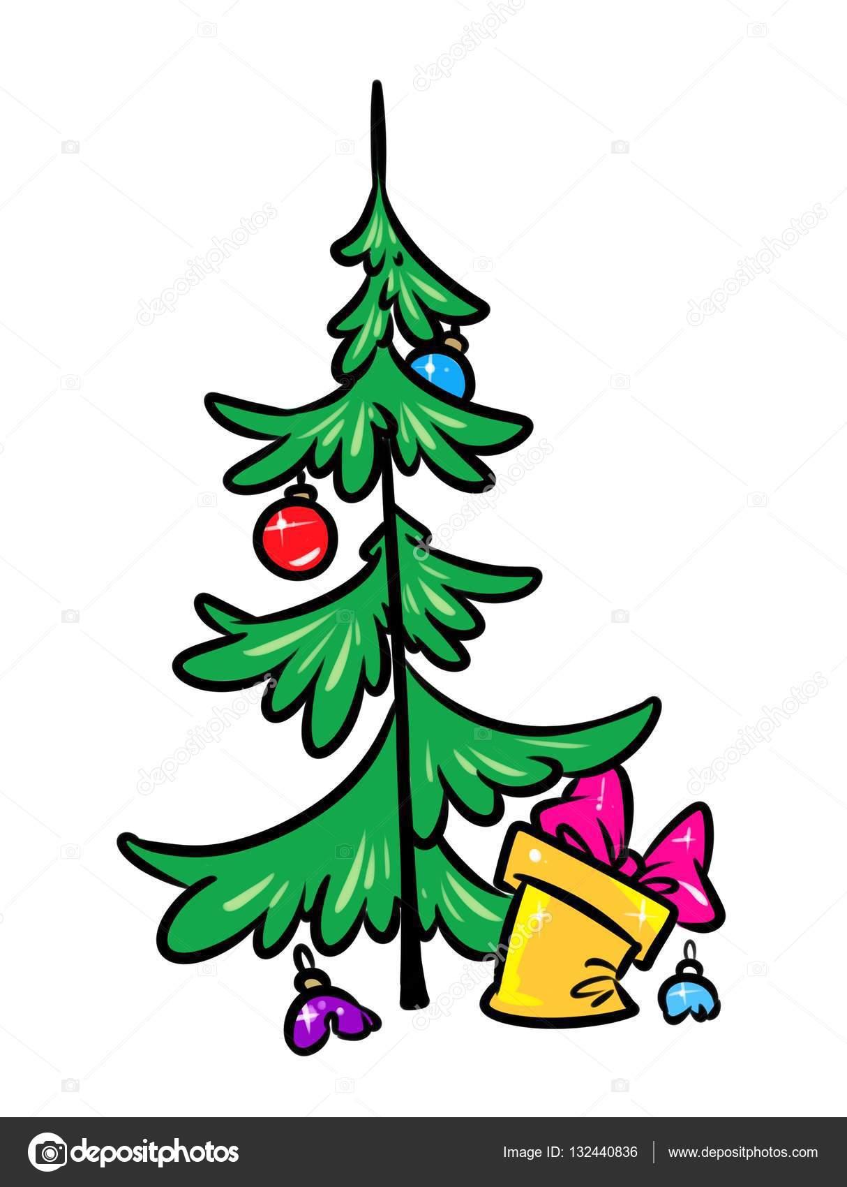 Weihnachtsbaum-Geschenk-Parodie-cartoon — Stockfoto © Efengai #132440836