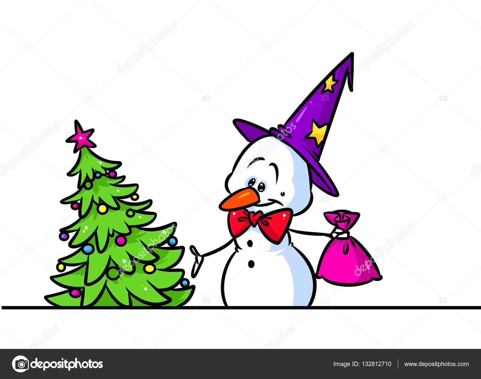 Christmas tree t snowman cap character cartoon — Stock