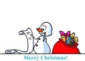 Vánoční sněhulák charakter dárky taška seznam kreslený
