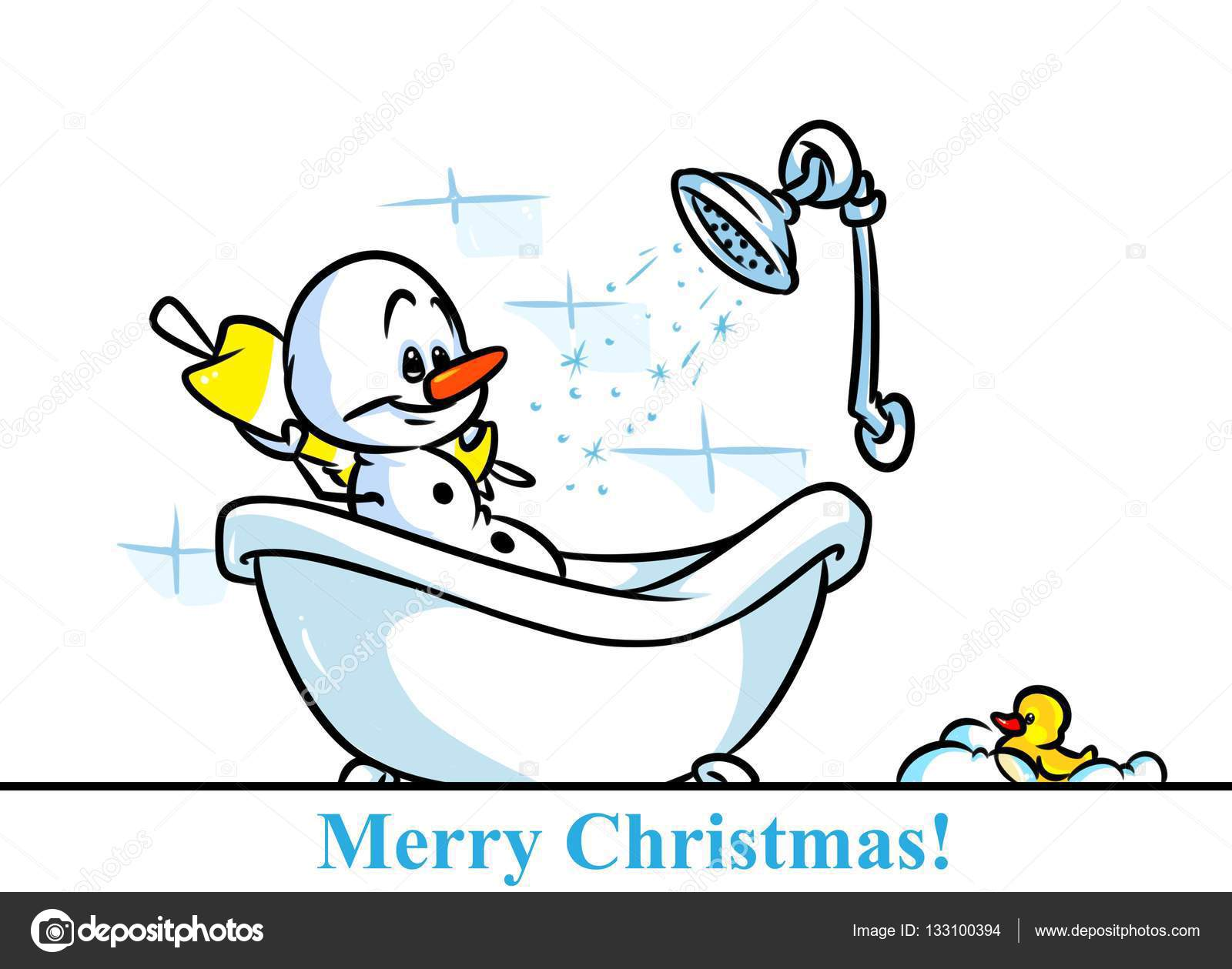 Weihnachten Schneemann Charakter Badewanne Cartoon Stockfoto