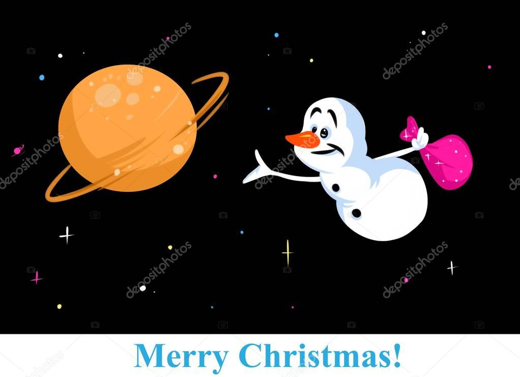 Christmas snowman character cosmos cartoon