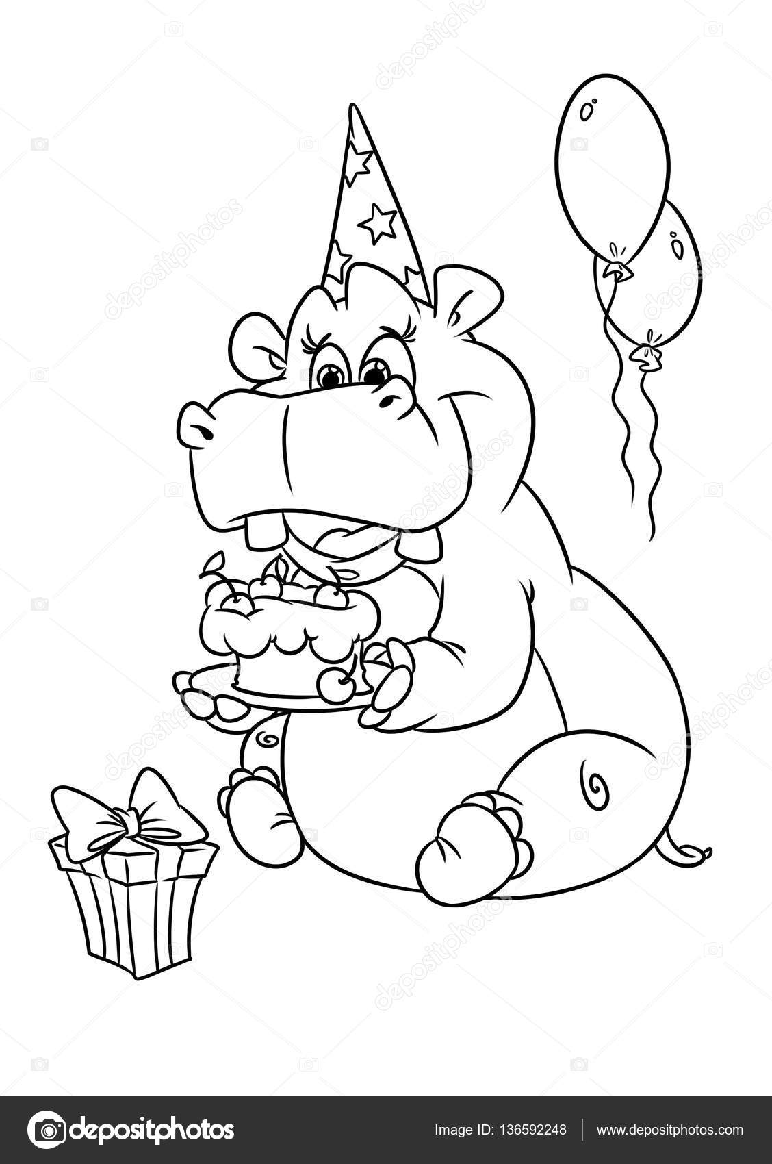 Hippo Holiday Birthday Coloring Pages Stock Photo 136592248