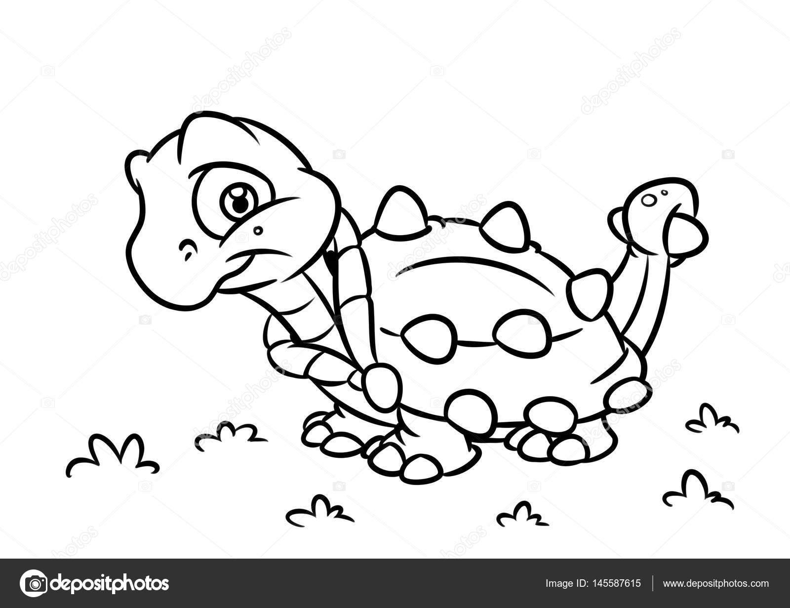 Dinosaur Ankylosaurus coloring page cartoon Illustrations — Stock ...