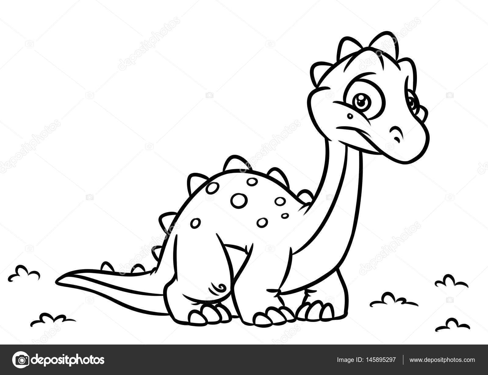 Diplodocus de dinosaurio para colorear cartoon ilustraciones de la ...
