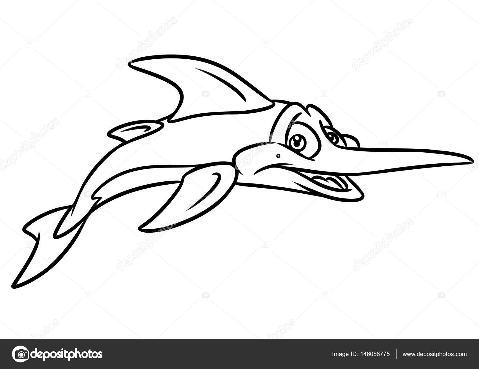 Swordfish Coloring Page Cartoon Illustrations Stock Photo 146058775