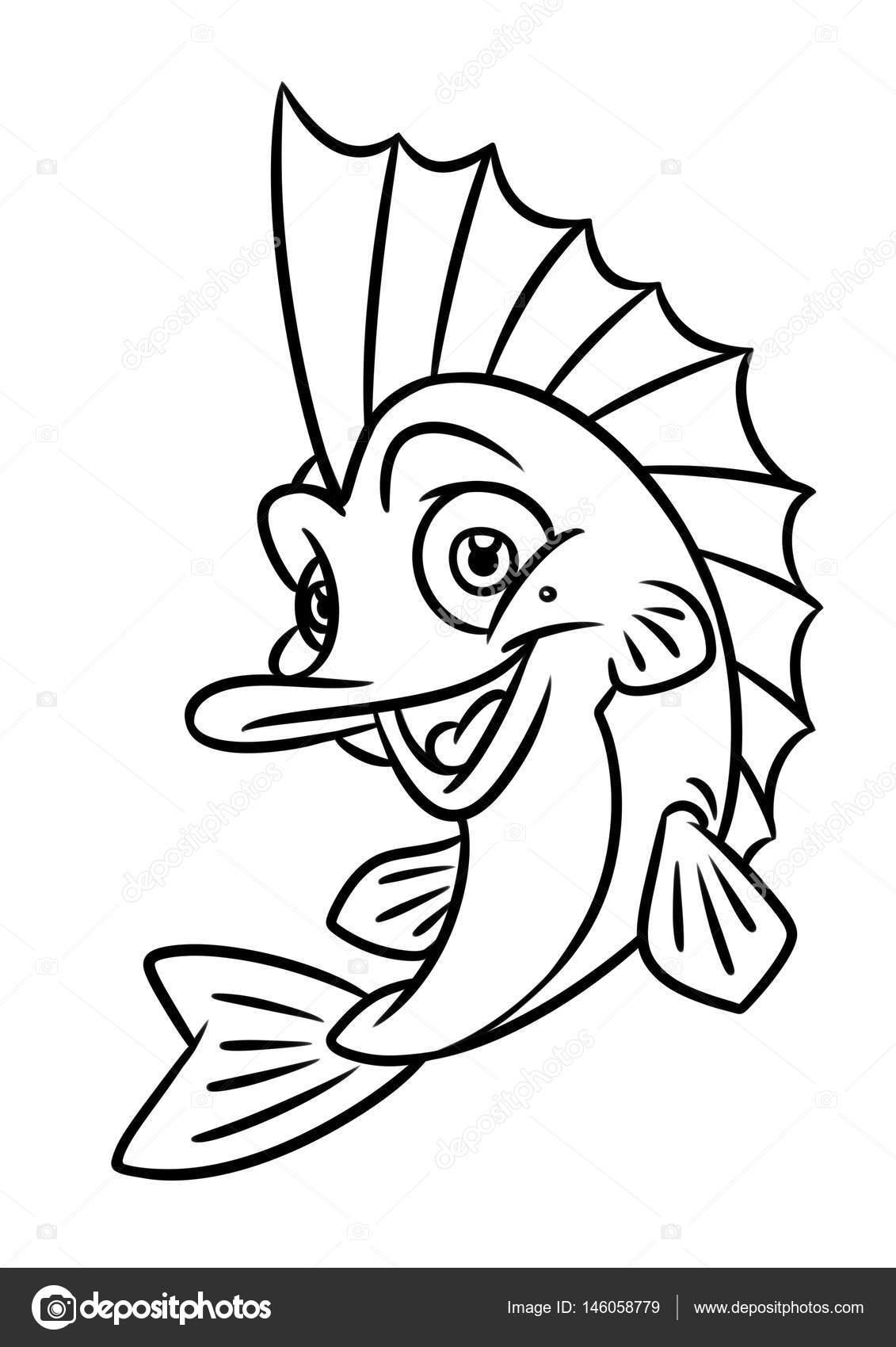 Balık Boyama Sayfası Karikatür çizimler Stok Foto Efengai 146058779