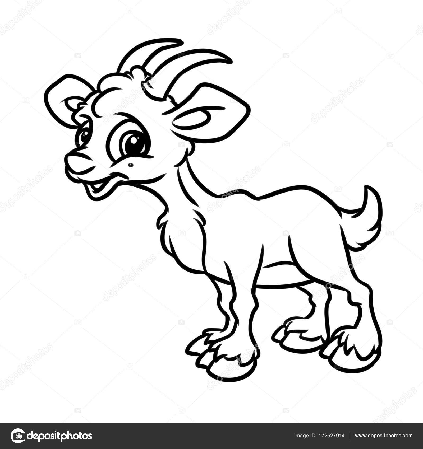 geit kleurplaat pagina dierlijk beeldverhaal stockfoto
