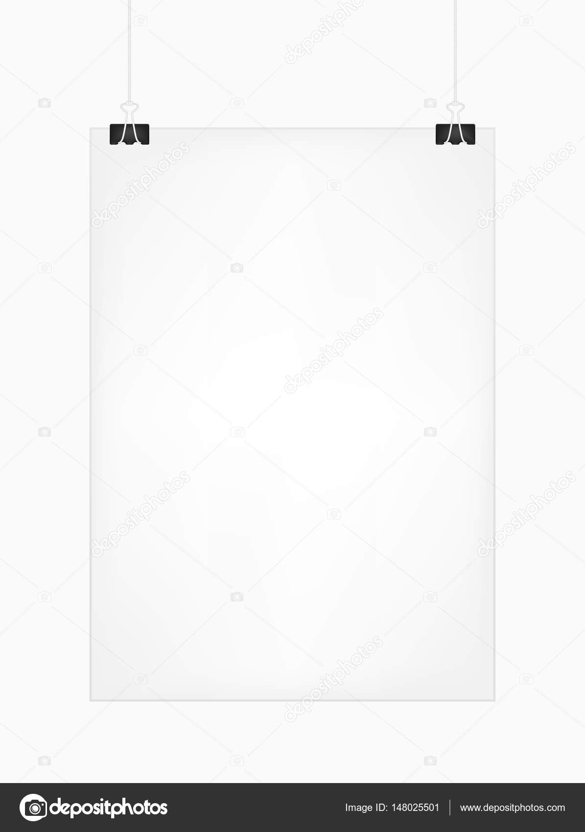 white vertical poster template hanging on clips isolated on a white
