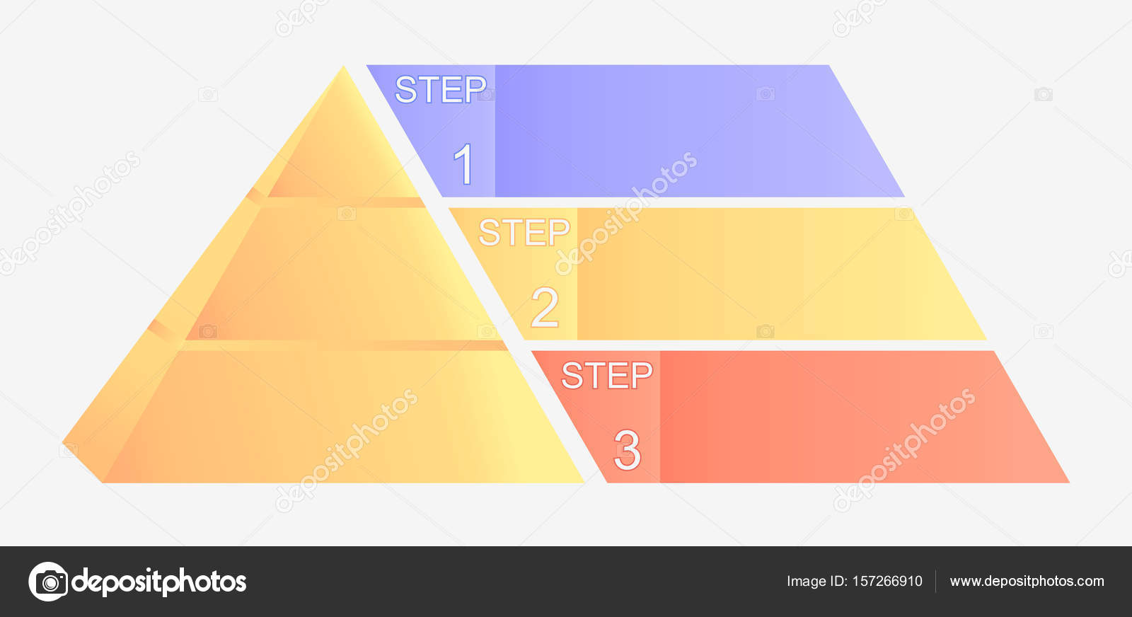 Pyramid Chart With Four Elements Numbers And Text Diagram Template Infographic Illustration