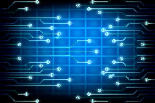 Repülő belsejében egy áramkör. Kék elektronok halad keresztül. Loopable. Futurisztikus háttér. A hálózati kapcsolatok. További lehetőség a portfólió.