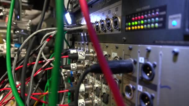 Concert equipment with connection cables to connect the equalizer,  amplifier, speakers and other musical instruments