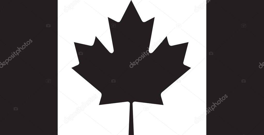 Canada flag icon black color