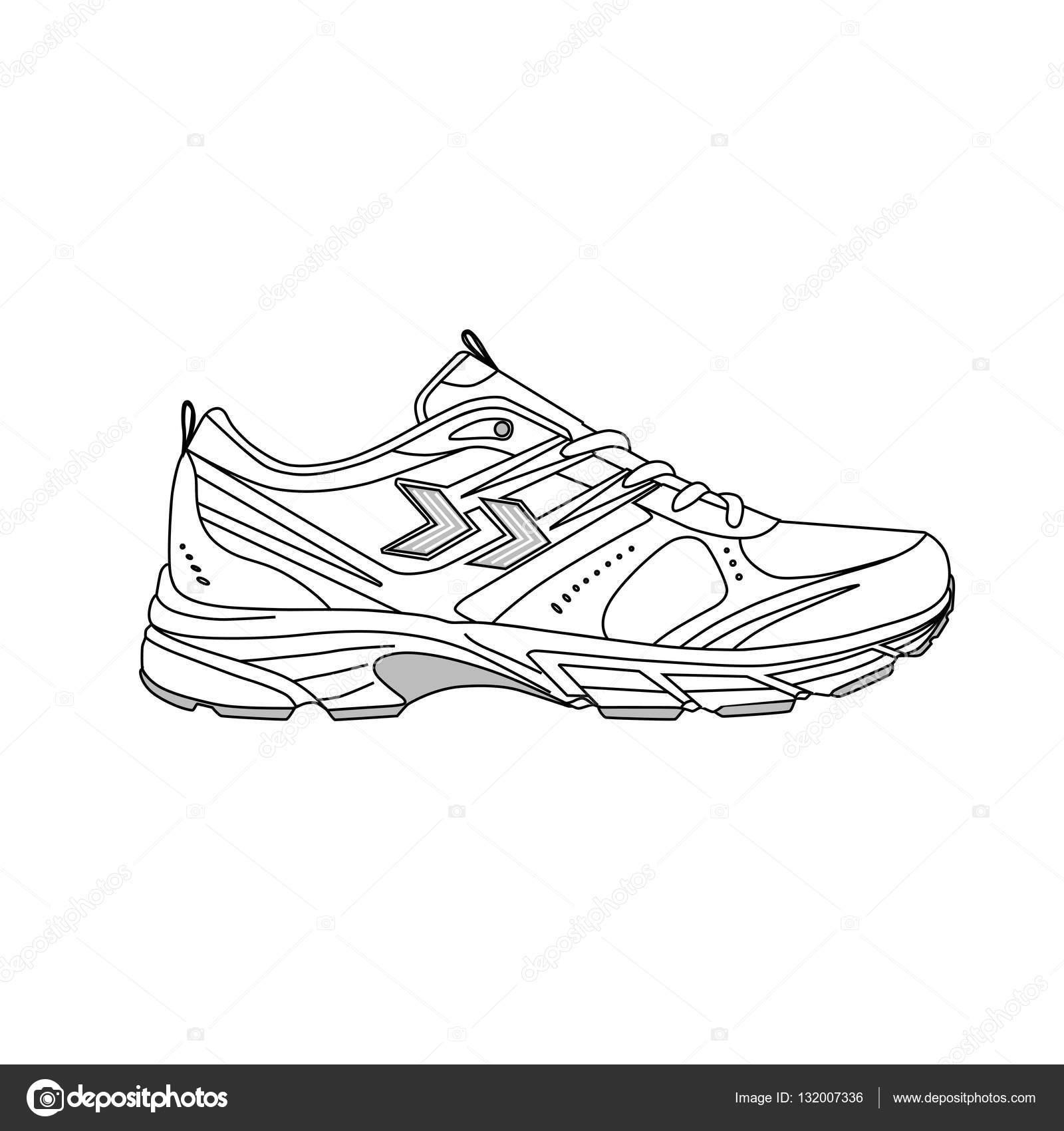 Dibujo Boceto De Comodas Zapatillas Para Entrenamiento Archivo