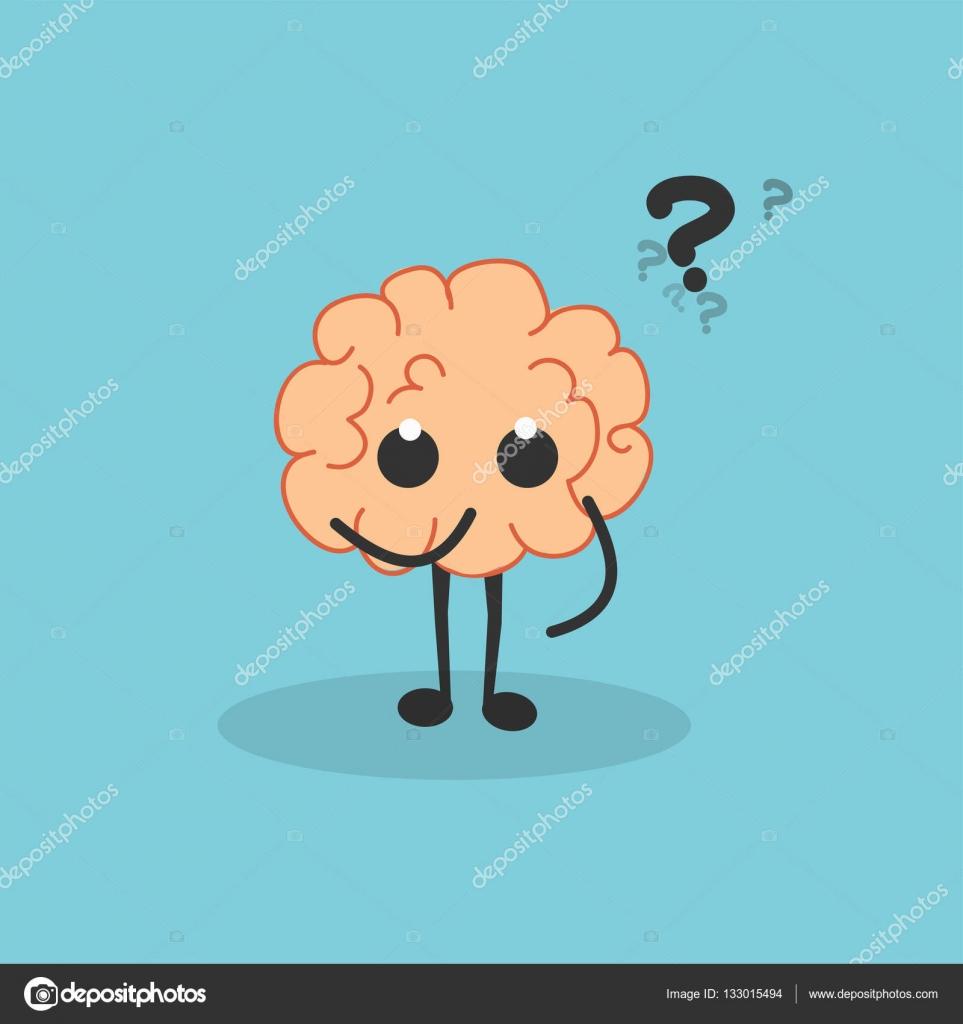 cartoon brain with question marks stock vector maxbax 133015494